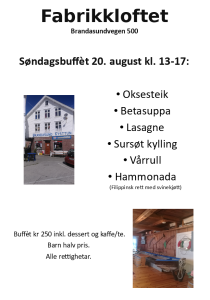 Fabrikkloftet 20 august 17